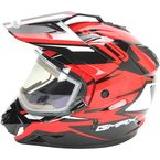 Black/Red GM11S Vertical Snow Sport Snowmobile Helmet w/Electric Shield - G2111206 TC1 ELEC