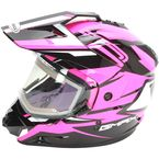 Black/Hi-Vis Pink GM11S Vertical Snow Sport Snowmobile Helmet w/Electric Shield - G2111406 TC14 ELEC