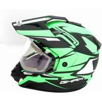 Flat Black/Hi-Vis Green GM11S Vertical Snow Sport Snowmobile Helmet w/Electric Shield - G2111676 F.TC23 ELEC