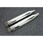 Chrome 4.5 in. Slip-On Mufflers w/Black Step Down Tips - 97150