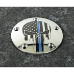 Chrome Blue Line Skull Timing Cover - LE04-04