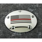 Chrome Red Line American Flag Timing Cover - FF12-04