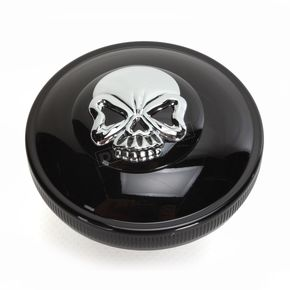 Drag Specialties Gloss Black Non-Vented Screw-In Locking Skull Gas Cap - 0703-0691