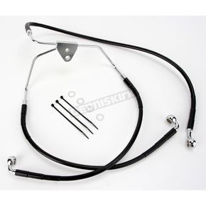 Drag Specialties Front Standard Length Black Vinyl Coated Braided Stainless Steel Brake Line Kit - 1741-2508
