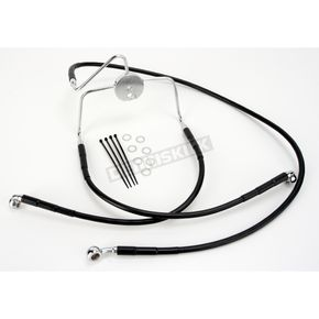Drag Specialties Front Extended Length Black Vinyl Braided Stainless Steel Brake Line Kit +10 in. - 1741-2525