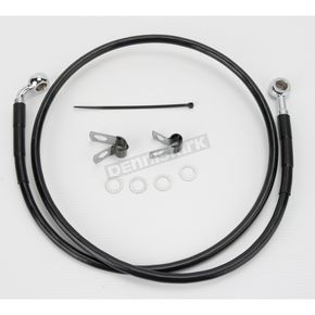 Drag Specialties Front Extended Length Black Vinyl Braided Stainless Steel Brake Line Kit +4 in. - 1741-2528