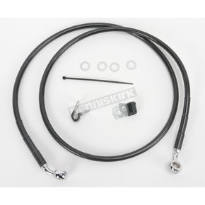 Drag Specialties Front Extended Length Black Vinyl Braided Stainless Steel Brake Line Kit +6 in. - 1741-2535