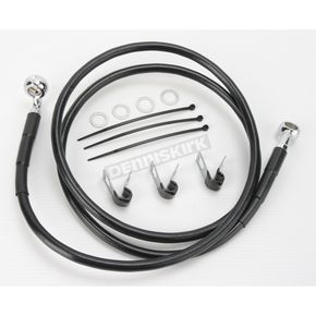 Drag Specialties Front Extended Length Black Vinyl Braided Stainless Steel Brake Line Kit +8 in. - 1741-2542