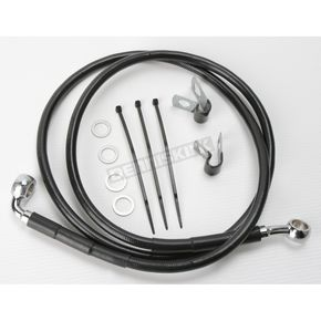 Drag Specialties Front Extended Length Black Vinyl Braided Stainless Steel Brake Line Kit +6 in. - 1741-2553