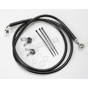 Drag Specialties Front Extended Length Black Vinyl Braided Stainless Steel Brake Line Kit +10 in. - 1741-2555