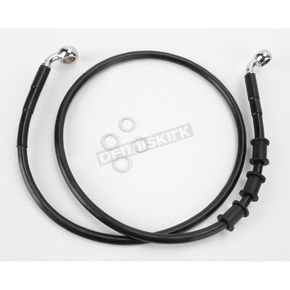 Drag Specialties Front Extended Length Black Vinyl Braided Stainless Steel Brake Line Kit +8 in. - 1741-2596