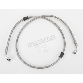 Drag Specialties Front Standard Length Clear-Coated Braided Stainless Steel Brake Line Kit - 1741-2667