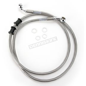 Drag Specialties Front Standard Length Clear-Coated Braided Stainless Steel Brake Line Kit - 1741-2888