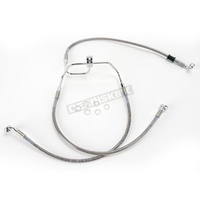 Drag Specialties Front Standard Length Clear-Coated Braided Stainless Steel Brake Line Kit - 1741-2900