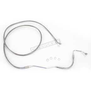 Drag Specialties Front Extended Length Clear-Coated Braided Stainless Steel Brake Line Kit +8 in. - 1741-2930