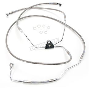 Drag Specialties Front Standard Length Clear-Coated Braided Stainless Steel Brake Line Kit w/ABS - 1741-2938