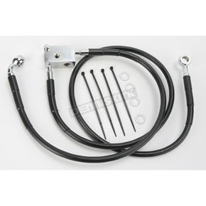Drag Specialties Rear Extended Length Black Vinyl Braided Stainless Steel Brake Line Kit +3 in. - 1741-2952
