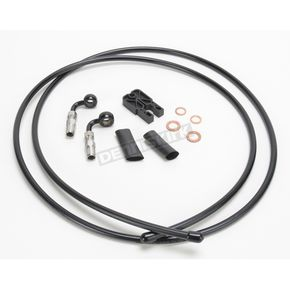 Black Vinyl Designer Series BYO Braided Single Disc 6 Ft Brake Line Kit with 7/16 Inch 90 Degree Banjo - 496790A