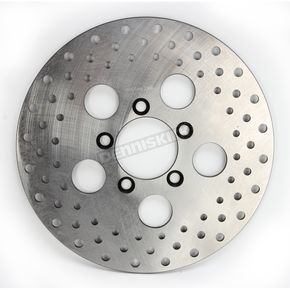 Drag Specialties Front 10 in. Stainless Steel Drilled Brake Rotor - 1710-1910