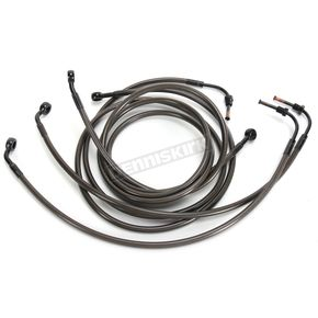 LA Choppers Midnight Stainless Brake Line for Use w/15 in. to 17 in. Ape Hangers w/ABS - LA-8050B16M