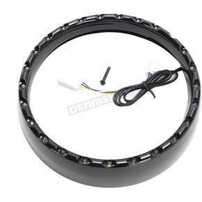 Gloss Black/White 7 in. LED Halo Headlight Trim Ring  - CDTB-BAT-W-B