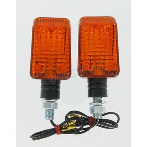 DOT Mini Stalk Universal Turn Signals - Black w/Amber Lens - 25-7500