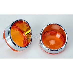Drag Specialties Visor Style Bezel and Amber Lens for Deuce-Style Turn Signals - 2020-0397
