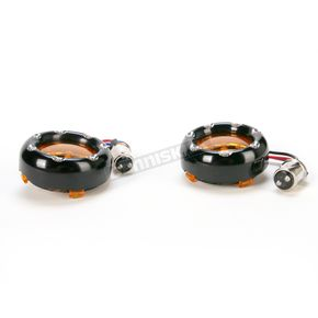 Arlen Ness Dual Function Black Trim Ring with White Ring LEDs and Amber Lens - 12-759