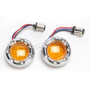 Arlen Ness Dual Function Chrome Trim Ring with White Ring LEDs and Amber Lens - 12-757