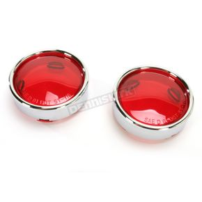 Drag Specialties Red Turn Signal Lens Kit with Chrome Trim Ring - 2020-0549