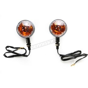 K & S Black Incandescent DOT Approved/E-Marked Aluminum Body Turn Signals w/Clear Lens - 25-5303