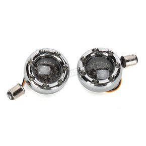 Custom Dynamics Chrome Bullet Ringz w/Amber/White LED Turn Signals - BTRC-AW-1157-S