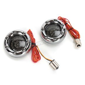 Custom Dynamics Chrome Bullet Ringz w/Red/Amber LED Turn Signals - BTRC-AR-1156-S