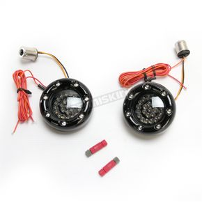 Custom Dynamics Black Bullet Ringz w/Red/Amber LED Turn Signals - BTRB-AR-1156-S