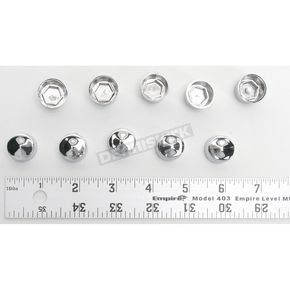 Drag Specialties Chrome Large 10mm 12 Point Screw Covers - 2402-0129