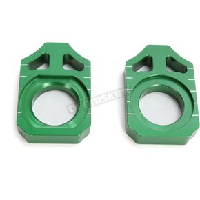 Works Connection Green Kawasaki Axle Block  - 17-129