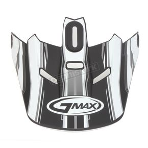 GMax Matte Black/White/Silver Visor for GM46.2 Traxxion Medium to XXX-Large Helmet - 72-1191