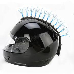 Helmets Inc Blue Fiber Optic Motorcycle Helmet Mohawk - FOB