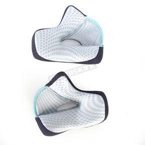 Thor Gray/Cyan Cheek Pads for Thor Verge Helmets - 35mm - 0134-1483