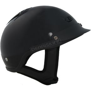 Rodia Vented Shorty Gloss Black Beanie Half Helmet - 100VGB-L
