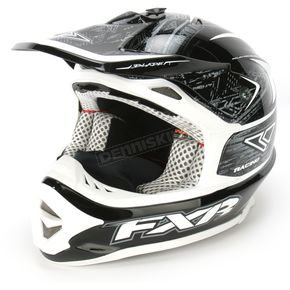 FXR Racing Black/White Warp Blade Super Lite Helmet - 1341