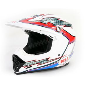 Bell White/Red/Blue Moto-9 Hurricane Helmet - 2036672