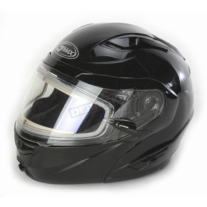 GMax Black GM64S Modular Snowmobile Helmet with Electric Shield - 72-6268L