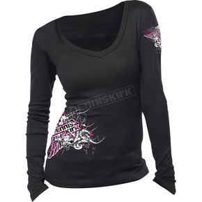 Womens Abstract Long Sleeve Black Shirt