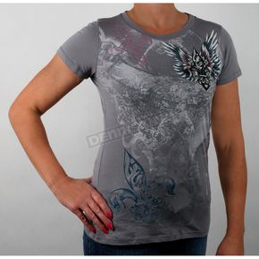 Vocal Womens Gray Flur De Lis with Wings T-Shirt - Rhinestone-t-shirt