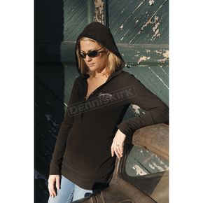 Easyriders Roadware Women's Stone Cold Long Sleeve Thermal Henley w/Hood - 3174