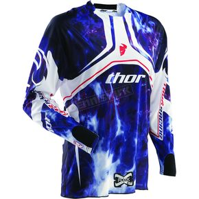 Thor White/Blue Flux Smoke Jersey - 2910-2206