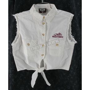Easyriders Roadware Womens White Denim Tie-Up Shirt - 7164L