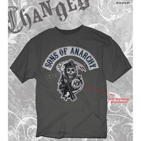 Sons of Anarchy Charcoal SOA Logo Patch T-Shirt - 28-605-10CH-XXL