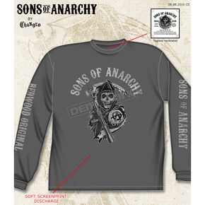 Sons of Anarchy Charcoal Fear The Reaper Long Sleeve Tee - 28-405-38CH-XXL